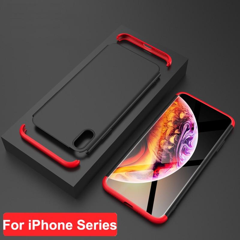 Para iPhone X XR XS Max GKK caso 360 todo incluido 3 en 1 PC mate cubierta para iPhone 5 5S se 6 6 s 7 caso Fundas Coque