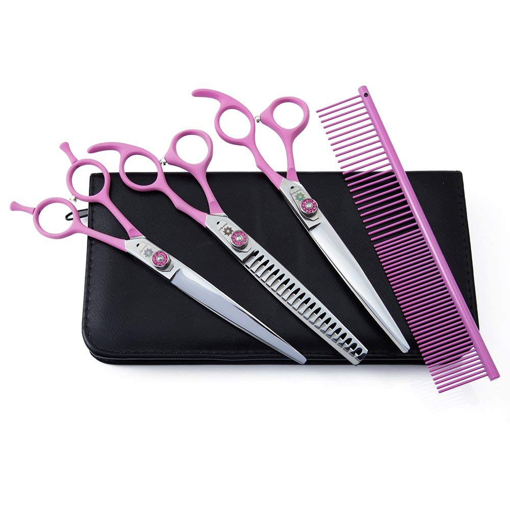"Elástico manejar Pet Set de tijeras de peluquería canina 4 Uds Japón 440C para Trimmer Kit 7,0 ""recta Chunker curvada tijeras"