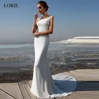 lorie mermaid wedding dress 2019 soft stain and lace appliques bride dress summer sleeveless wedding dress wedding party dress