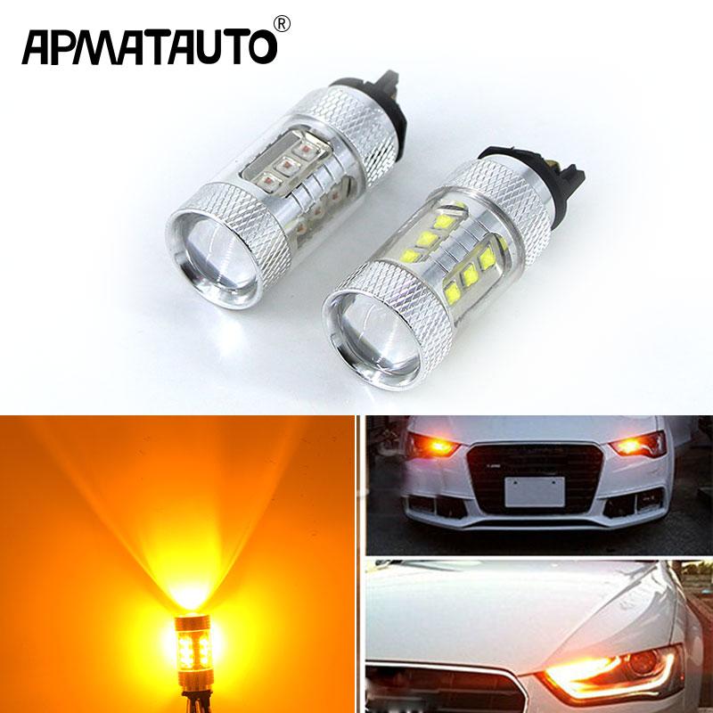 2x אמבר צהוב לבן 80 w Canbus PW24W PWY24W LED נורות לאאודי A3 A4 A5 Q3 פולקסווגן MK7 גולף CC היתוך קדמי הפעל אות אורות
