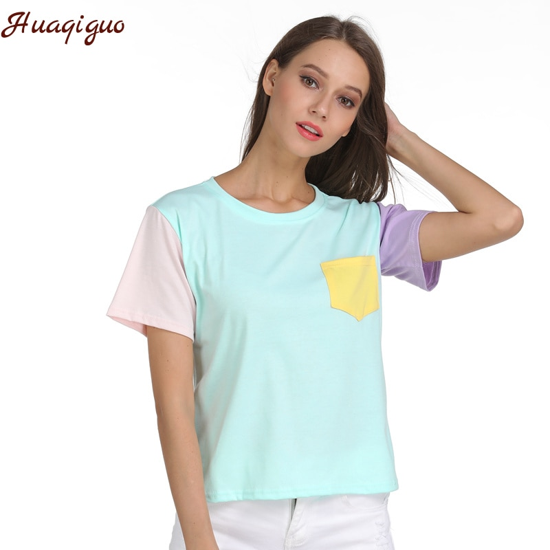 Verano camiseta Harajuku Kpop Exo pantalón corto casual de manga larga o-Cuello Patchwork camiseta Femme de fondo Tops envío de la gota