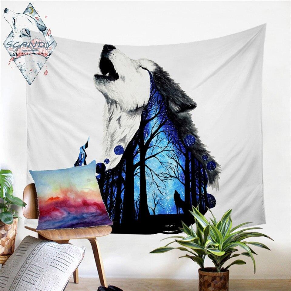 Tapiz para colgar en la pared con dibujo de lobo aullando, moqueta de pared decorativa, bosque, 150x200cm