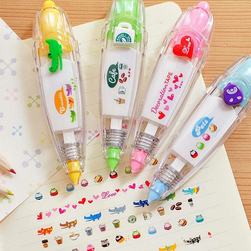 Crianças quentes bonito desenho brinquedo caneta fita de correção decorativa rendas para chave tag sinal estudantes presentes escola escritório abastecimento 1 pcs