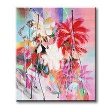 Peintures à lhuile abstraites peintes à la main   Pures, fleurs colorées, toile, décor artistique pour la maison, 16x20 pouces