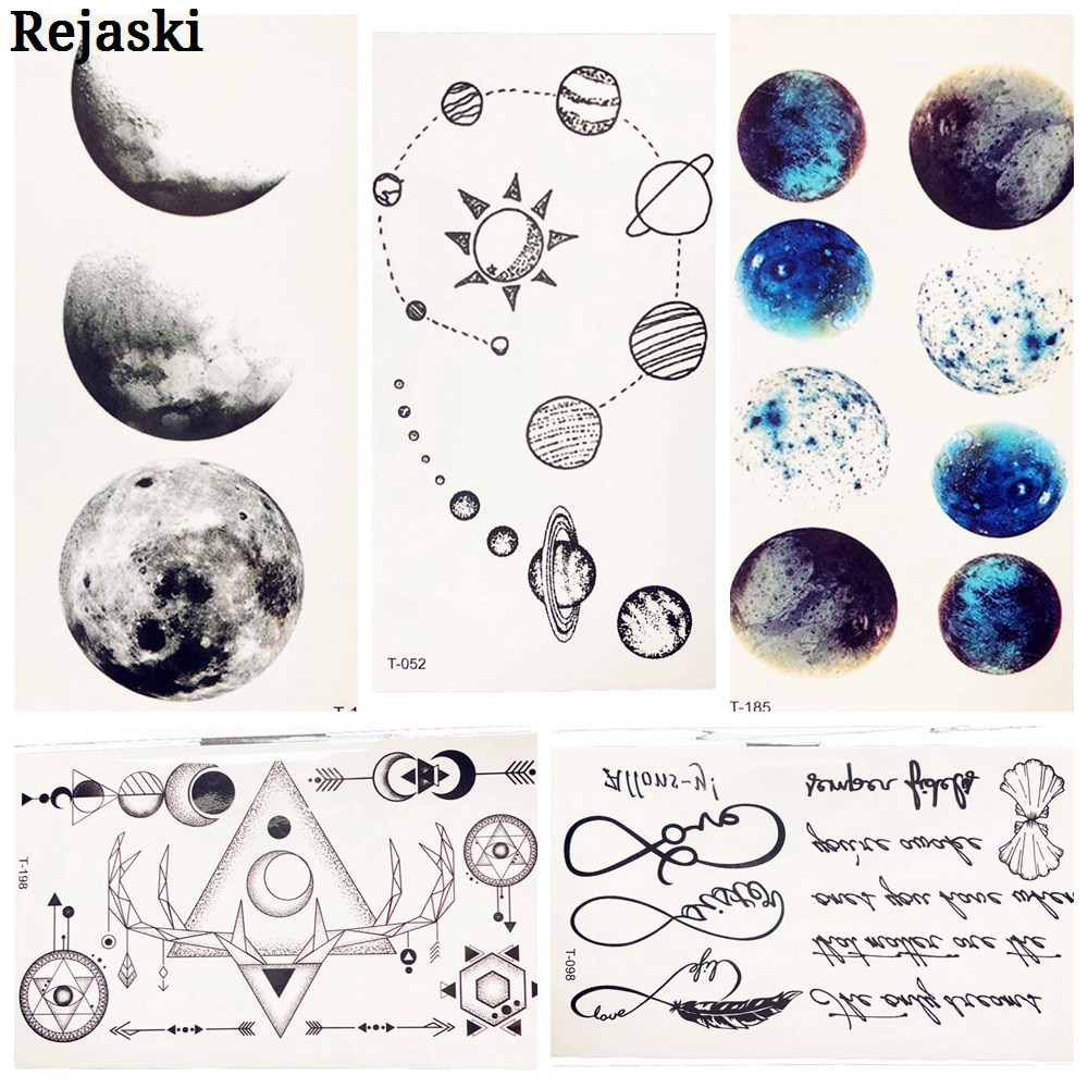 Nette Cosmos Temporäre Tattoo Aufkleber Für Kinder Körper Kunst Gefälschte Schwarz Wasser Transfer Tattoo Universum Planeten Muster Tatoos Frauen