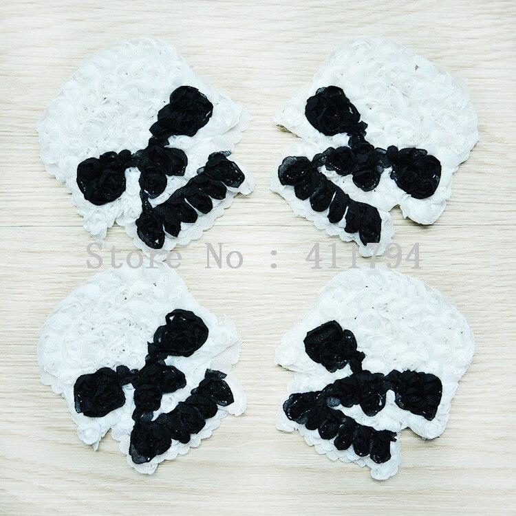 50 pcs / lots 3 '' halloween skull shabby chiffon flowers for headband