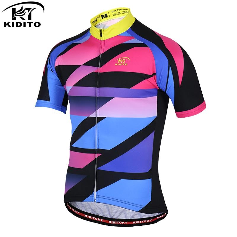 KIDITOKT Pro Anti-UV ciclismo Jersey de secado rápido de manga corta de carreras ropa de bicicleta de montaña ropa de ciclismo para hombres