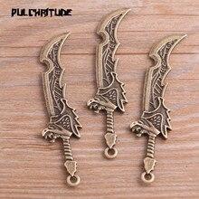 Pendentif en alliage métallique, 4 pièces 21x65mm, nouveau produit deux couleurs, couteau à arme, breloques, pendentif de Simulation, marquage des bijoux, 4 pièces