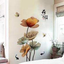 DIY Лотос ВИНТАЖНЫЙ ПЛАКАТ виниловая наклейка на стену китайский стиль цветок гостиная Настенный декор ванной комнаты настенная самоклеющаяся обои