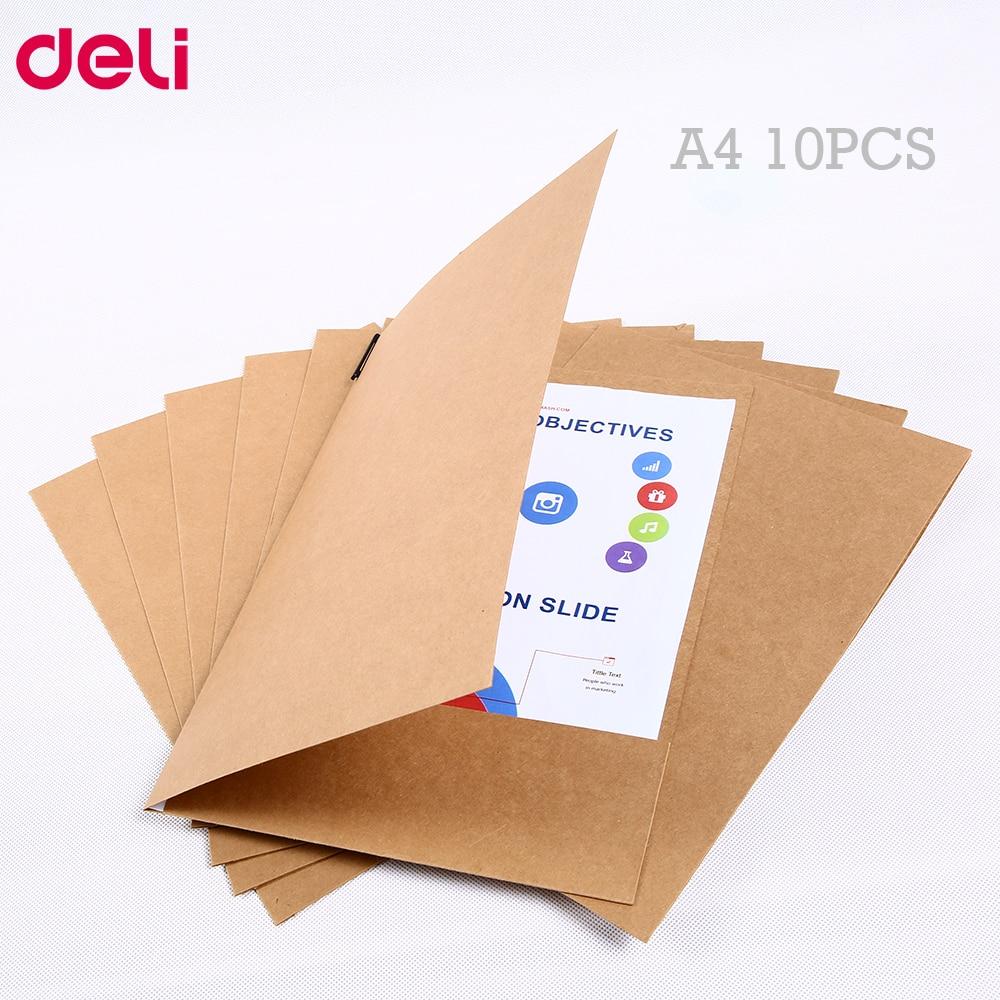 Deli kraft papel arquivo titular a4 10 pçs/set boa qualidade papel protetor pasta proteger arquivos importantes