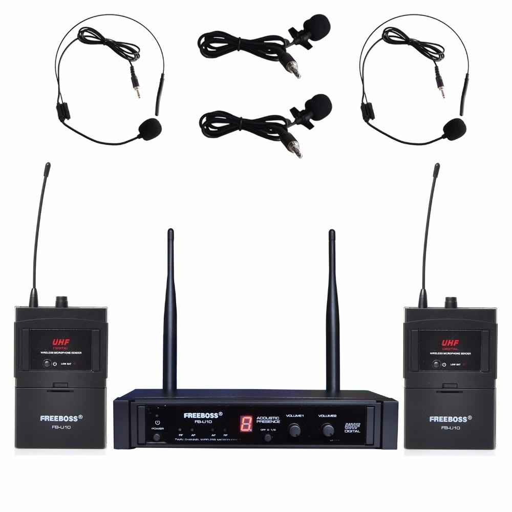 Freeboss FB-U10H2 الطريق المزدوج الرقمية UHF ميكروفون لاسلكي مع 2 التلبيب 2 سماعة ميكروفون (2 Bodypack الارسال)
