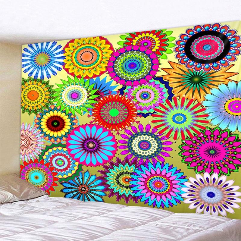 Tapiz Multicolor de Mandala geométrico psicodélico para colgar en la pared, tapiz bohemio, Mural, pared floral india, alfombra, toalla de playa