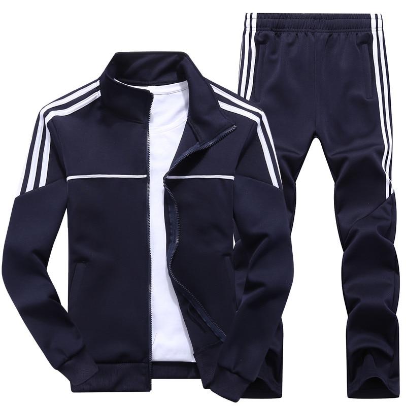 New Men's Set Spring Autumn Man Sportswear 2 Piece Sets Sports Suit Jacket+Pant Sweatsuit Male Tracksuit Asia Size L-4XL