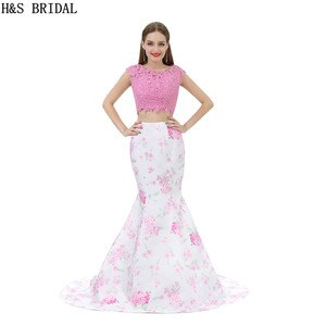H&S BRIDAL O Neck Two Pieces Lace Evening Dress Backless Beaded Purple formal evening gowns dresses Mermaid Prom Dresses
