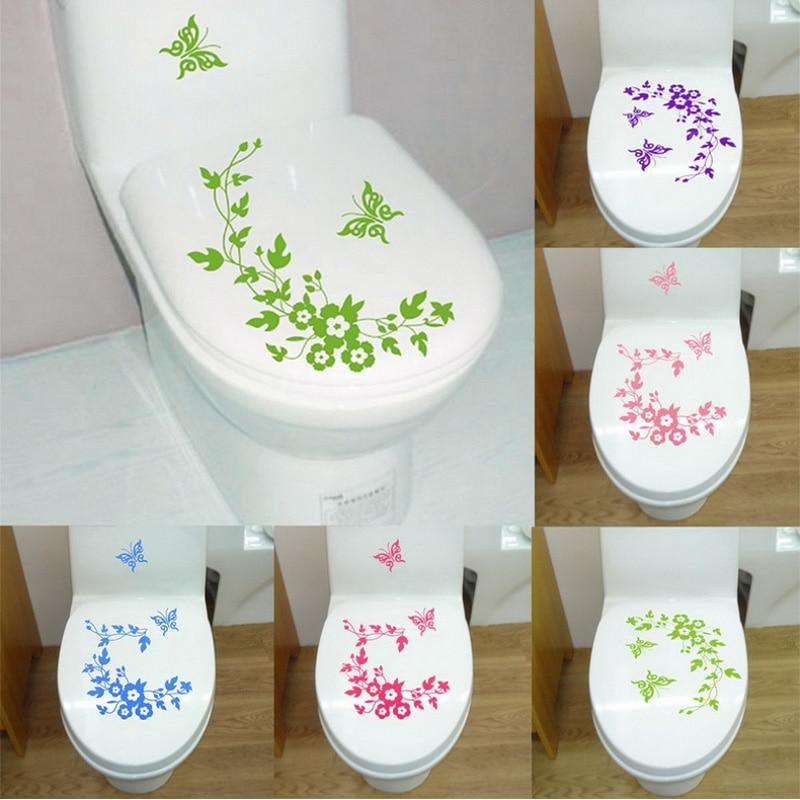 Autocollants muraux en fleur papillon   Étiquette de toilette murale, accessoires de salle de bains, décoration murale en vinyle pour toilettes maison