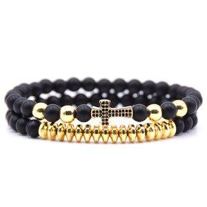 HYHONEY 2pcs/set Cubic Micro Pave CZ Cross Charms Bracelets for women Matte 6mm beads Bracelet men Jewelry pulseras