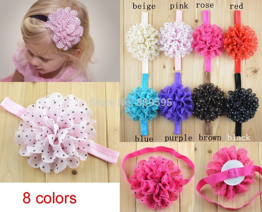"20 PCS/LOT , Polka dot 4"" chiffon flower Elastic headband U Pick Colors"