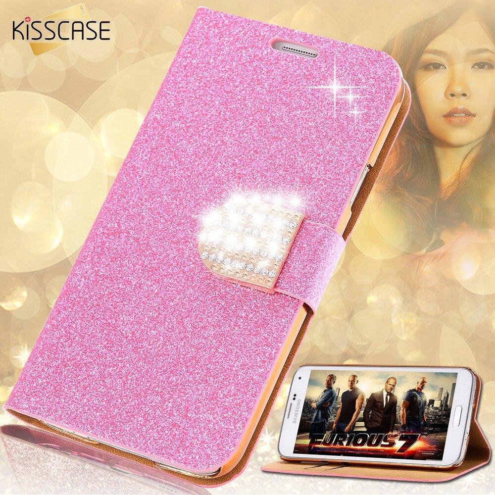 KISSCASE Glitter Leder Telefon Fall Für Samsung Galaxy S7 Rand S6 Rand Plus S5 Hinweis 4 5 Frauen Mädchen Bling diamant Flip Fall Abdeckung