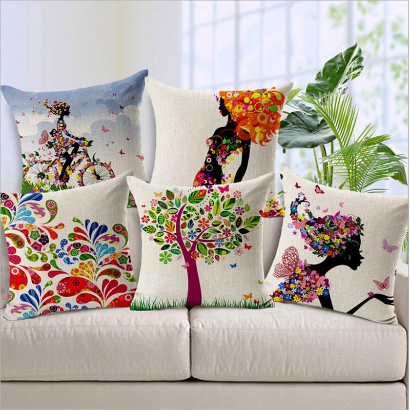 "New Home Decorative Pillow Cover Throw Pillow Case 18"" Vintage Decorbox Cotton Linen Square Cute Cartoon Owl"