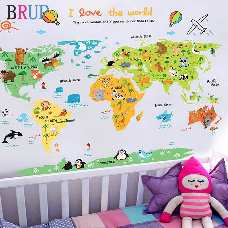 11 arten Große Weltkarte Wand Aufkleber Cartoon Karte Wohnkultur für Kinder Zimmer Vinyl DIY Wand Decals Reise Runde die Welt Aufkleber