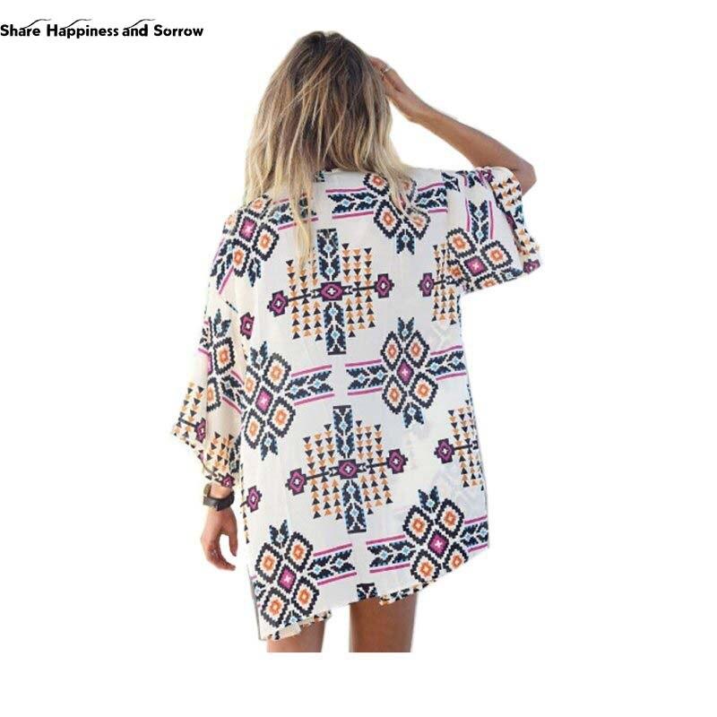 Shirts Blouses Tops Kimono Cardigan New Vintage Casual 2016 Summer Chiffon Long V-neck Short Geometric Polyester Regular Women