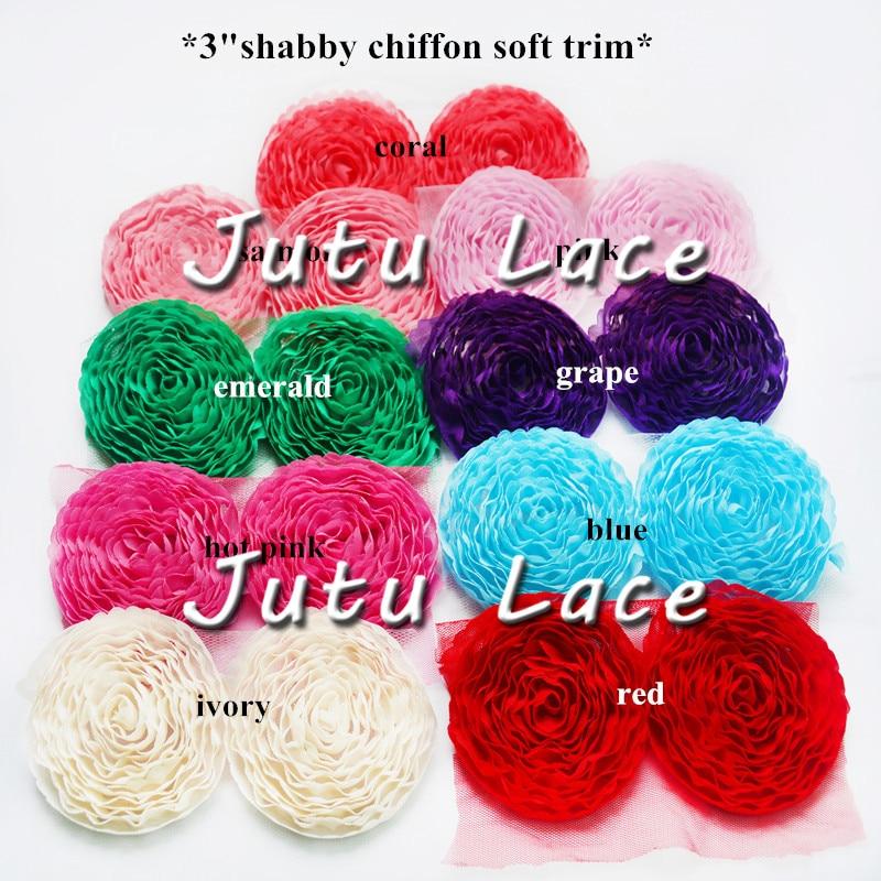 ePacket 50 pcs/lot , shabby chiffon trim rose flowers  , circle chiffon flowers for headband hair accessories  DIY