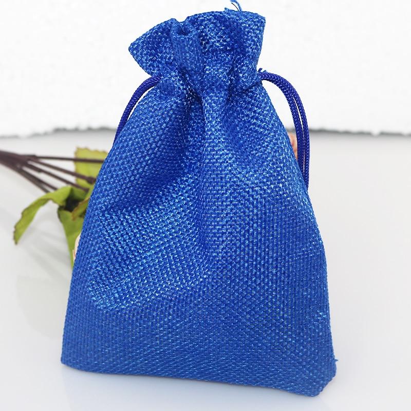15x20cm promoción bolsas de publicidad 100 unids/lote azul real yute cordón hecho a mano regalo joyería cosméticos bolsas al por mayor