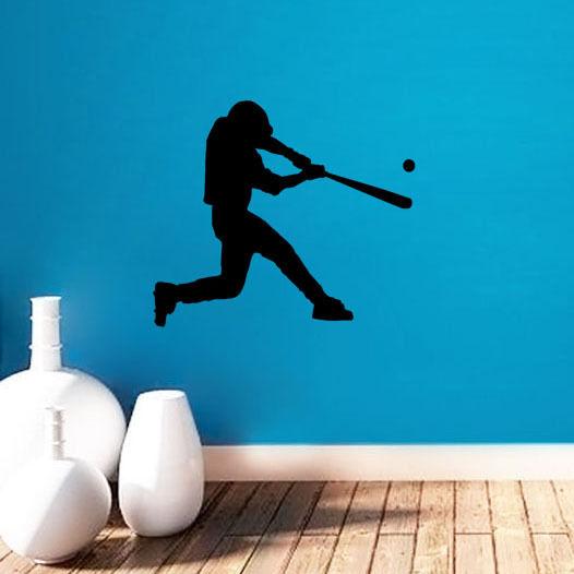 Gym estilo mural da parede jogador de beisebol ginásio arte adesivo de parede casa quarto decorativo vinil clube beisebol decalques de parede Y-577