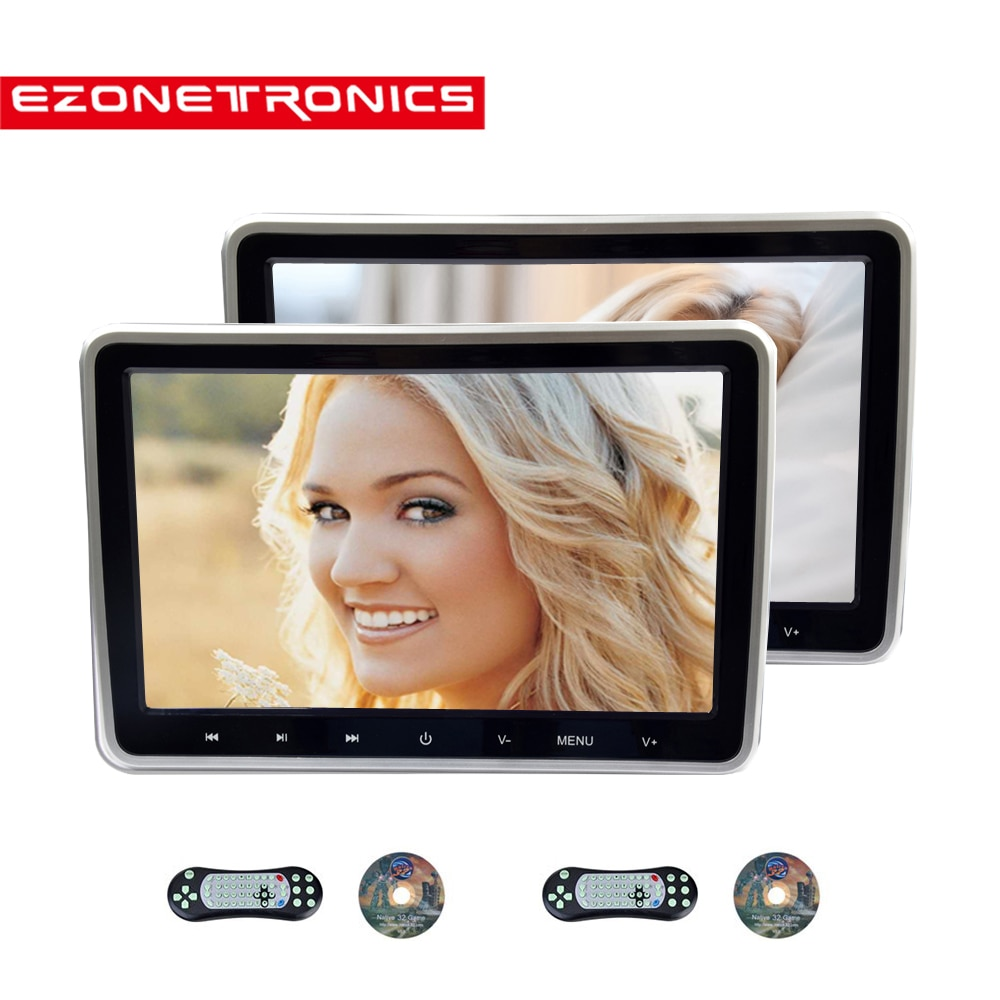 1/2PCS 10.1 Inch Car Headrest Monitor DVD Video Player USB/SD/HDMI/IR/FM TFT LCD Screen Touch Button