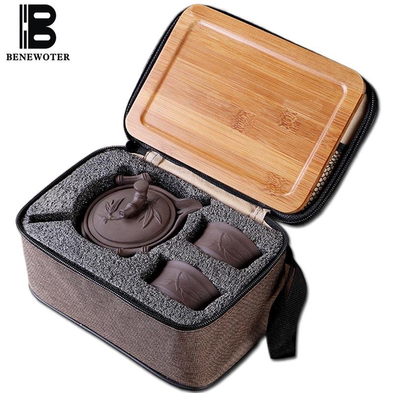 Portátil para acampar al aire libre taza chino tradicional de cerámica Yixing arcilla púrpura 1 tetera 2 tazas con 1 bandeja de bambú 1 bolsa de viaje
