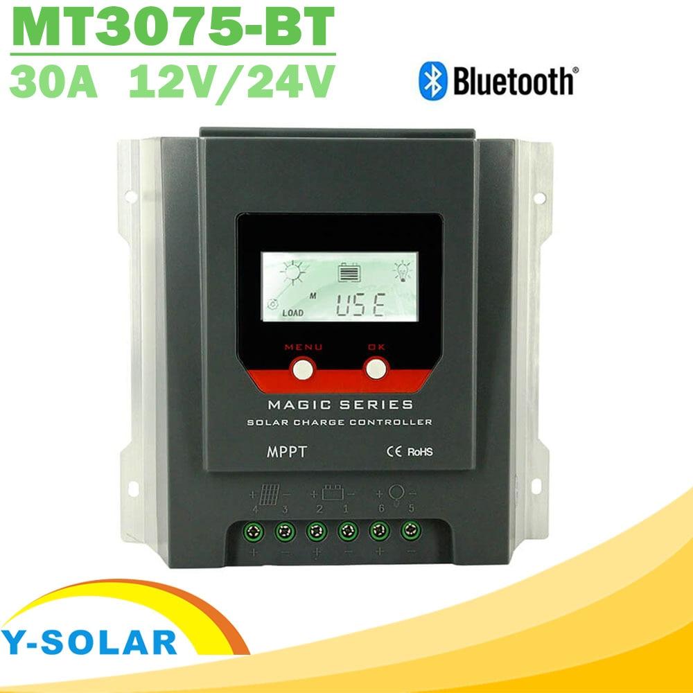 12V 24V Solar Regulator 30A Built-in Bluetooth 390W 780W for Lead Acid Lithium Battery MPPT Solar Controller LCD Display Design