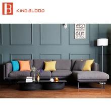 Ensemble de canapé dangle moderne en tissu gris de Style Royal avec cadre en métal pour salon