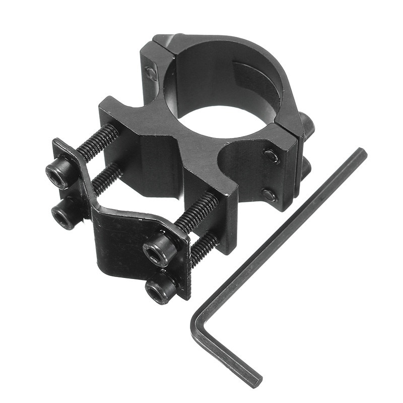 Soporte de anillo de montaje para linterna de 1 pulgada/25,4mm con adaptador de abrazadera de barril de 10-21mm, soporte para linterna de aleación de aluminio