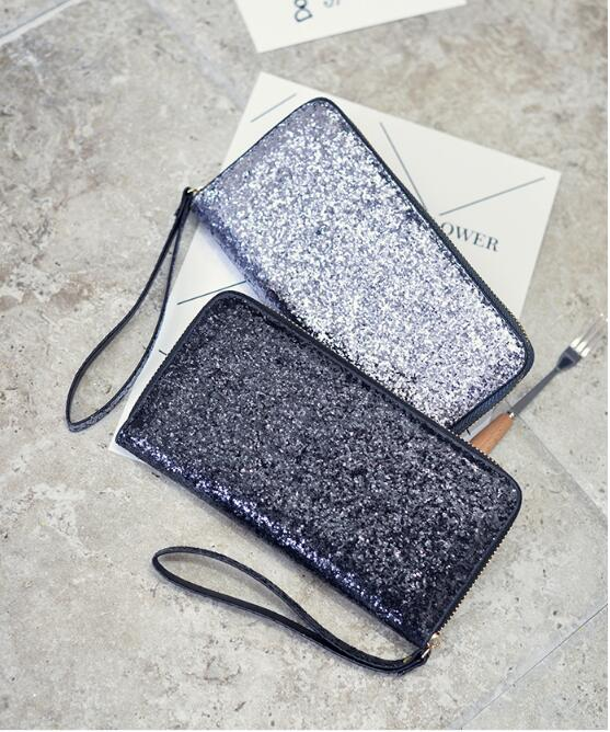 DHL 30 pcs Ladies Glitter Sequins Shiny Style Women Party Wallet Set Girl Clutch Bag Simple Cards Holders Money Bags