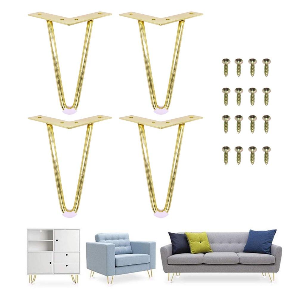4 قطعة 6 أو 7 بوصة الذهب دبوس الشعر الساقين لتثبيت سيقان معدنية للأثاث منتصف القرن الساقين الحديثة للقهوة ونهاية الطاولات الكراسي