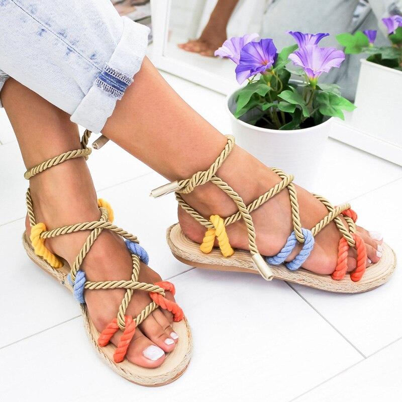 Женские сандалии, на плоской подошве, со шнуровкой, Нескользящие, для пляжа, 2019