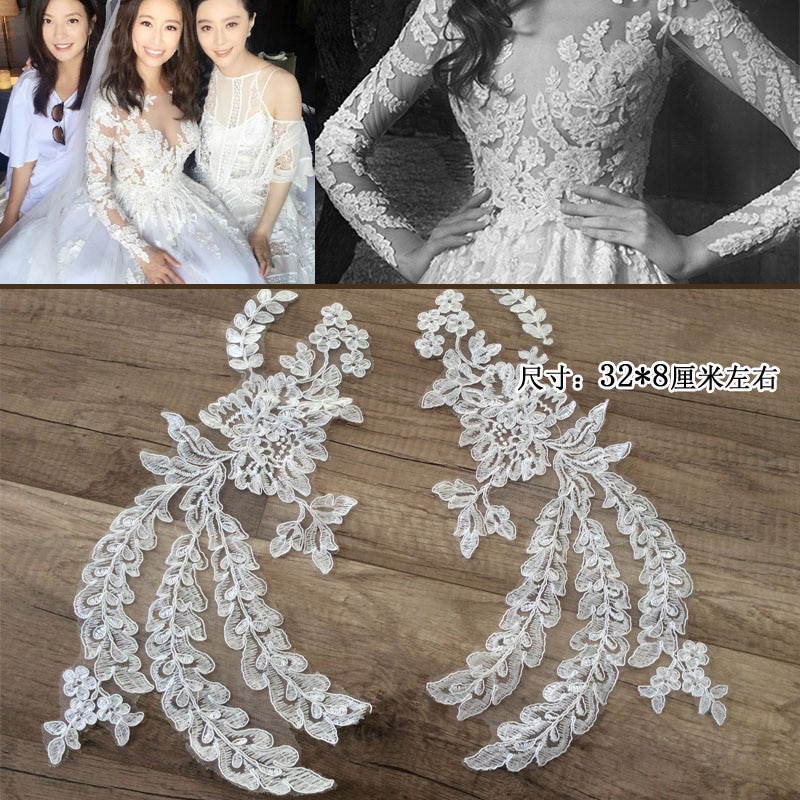 10 Pieces Off-white Lace Fabric Wedding Dresses Lace Applique Accessories Embroidery Lace Applique Fabrics For Bridal Veil