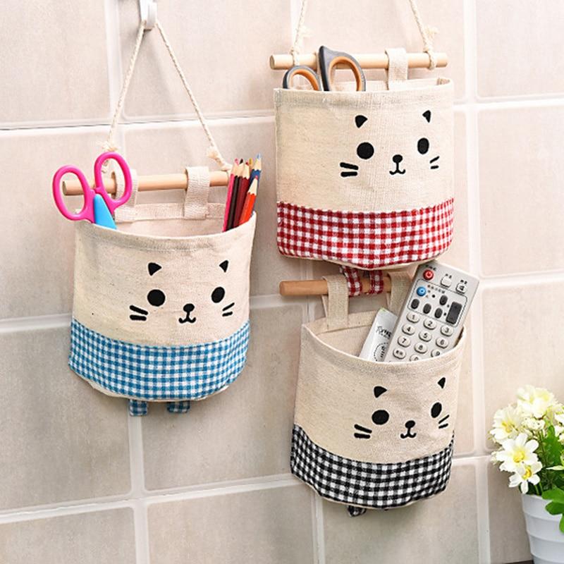 Tecido de linho algodão único bolso saco de armazenamento chinchilas padrão parede pendurado saco guarda-roupa porta detritos brinquedos organizador de armazenamento