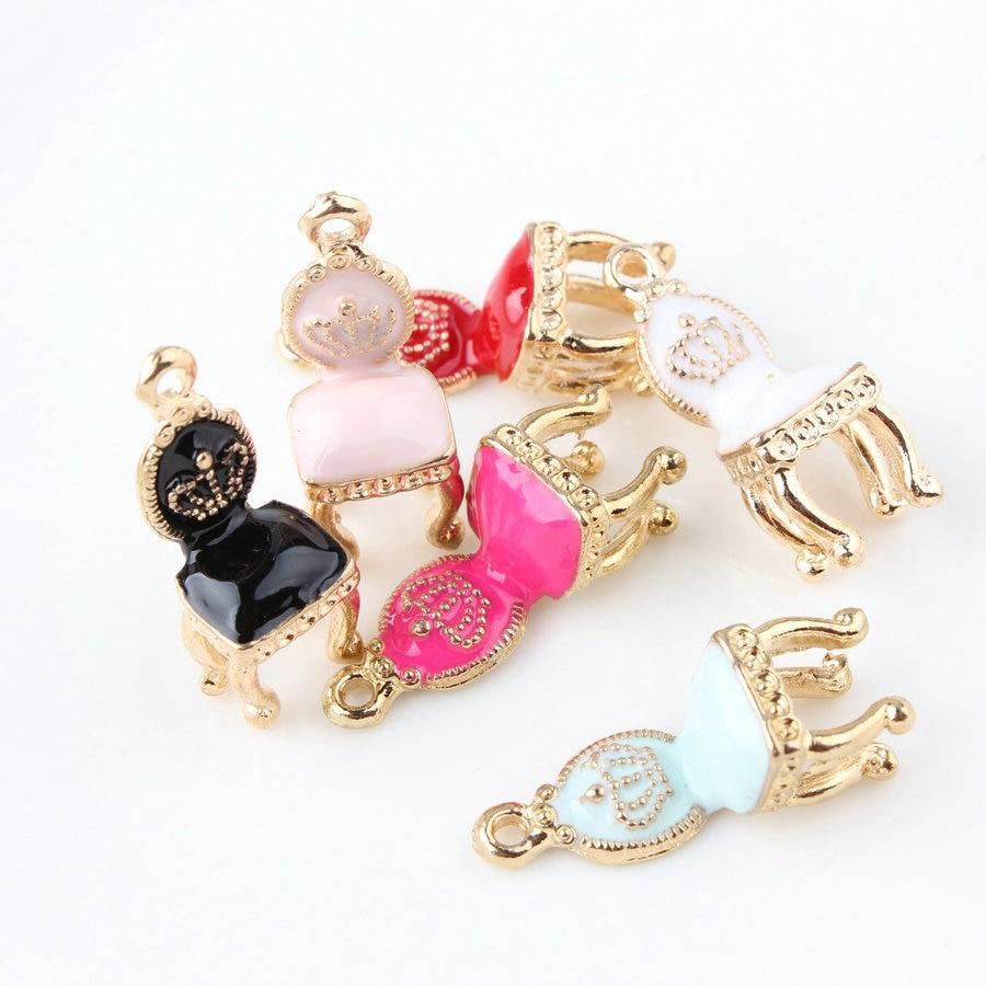 10PCS/Lot 10*26mm DIY Fashion Enamels Charms Palace Chair Alloy Pendant Making Bracelet Necklace Jewelry Accessories