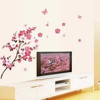 Autocollants muraux en PVC amovibles en fleurs de peche  1 piece  beaux autocollants muraux en vinyle  decalcomanies dart  decor Mural pour salon et chambre a coucher