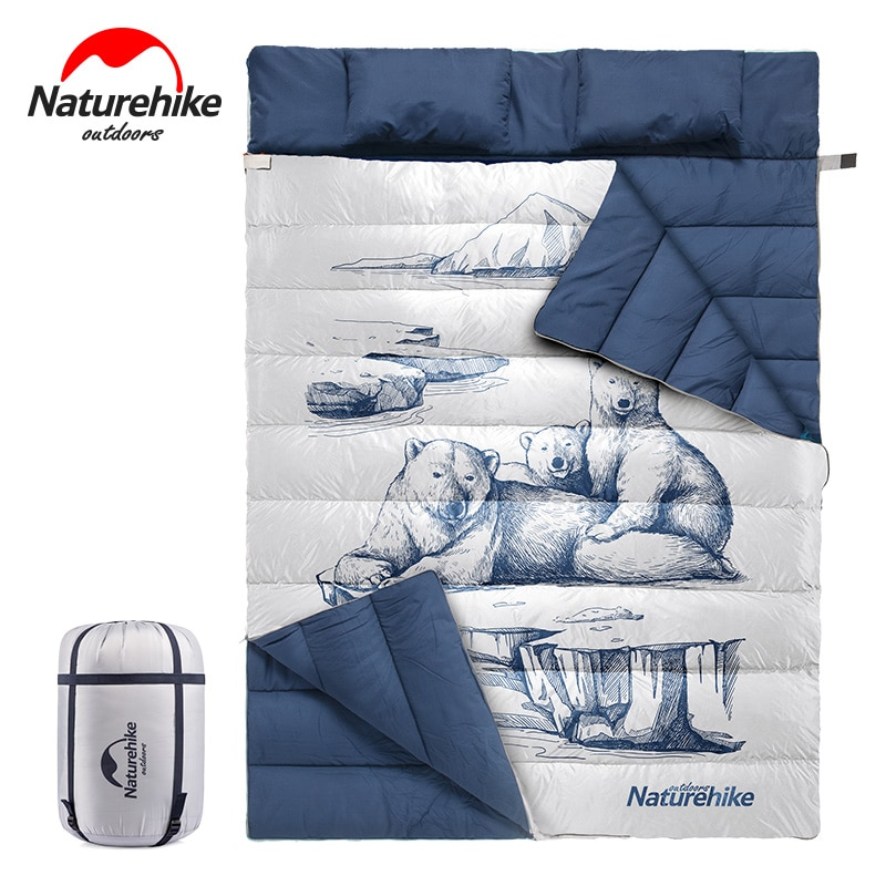 Naturehike Double Sleeping Bag Cotton Can Separate Two Single People Outdoor Camping Sleeping Bags with Pillow NH19S016-D