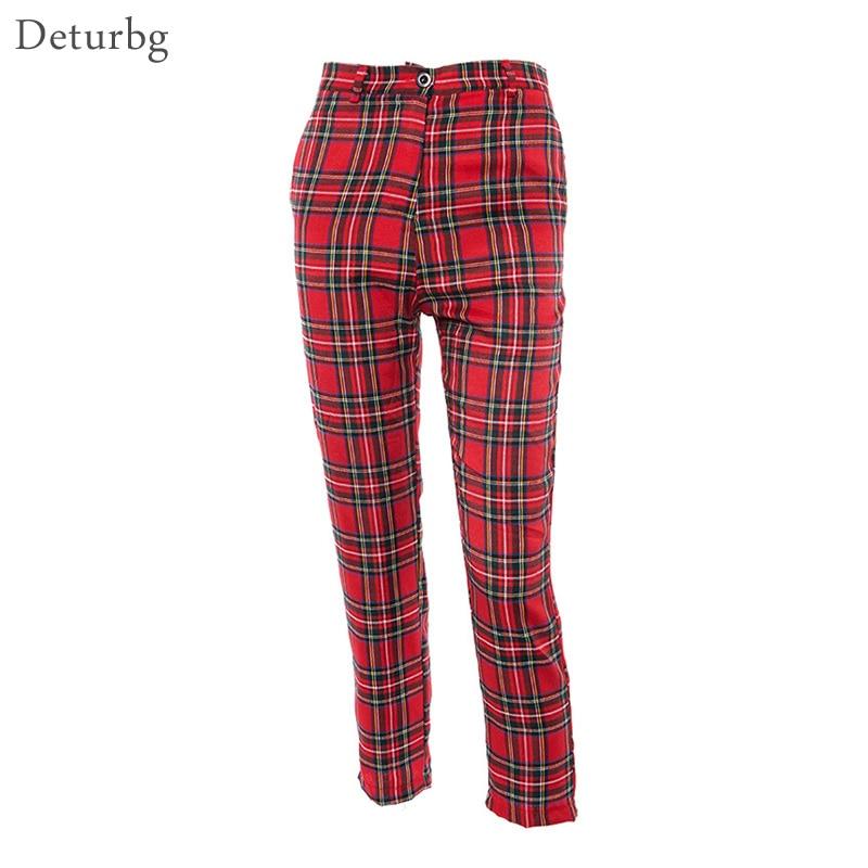 Womens Fashion Plaid Red Straight Pants Ladies Streetwear Harajuku High Waist Cotton Linen Trousers 2019 Autumn PA67 Pants