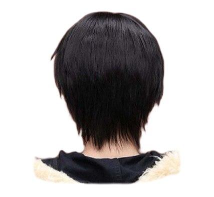 Pelucas de pelo sintético QQXCAIW cortas rectas para hombre, para fiestas, negras, de 32 Cm, resistentes al calor