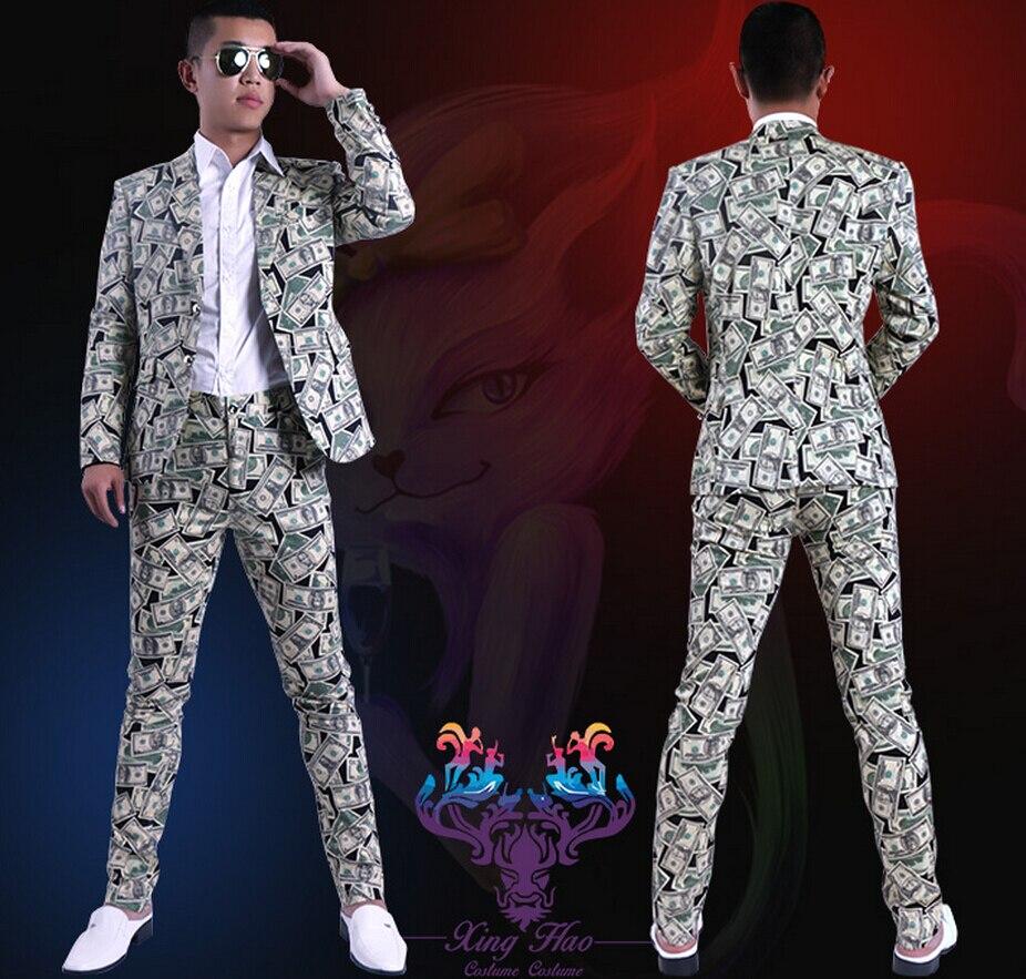 ¡S-6xl! ¡Novedad de 2020! conjunto de traje a la moda ajustado con estampado de dólar para hombre, trajes de cantante, vestido formal de talla grande