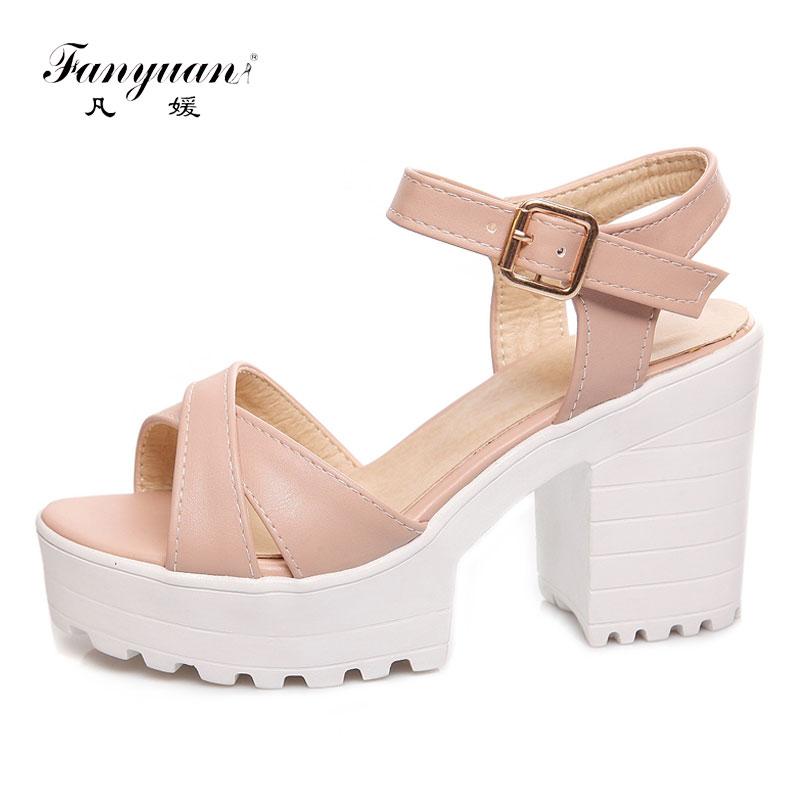 Sandalias de plataforma de verano Fanyuan italianas 2019 para mujer, zapatos de talla grande 34-46, Sandalias de tacón alto, sandalia femenina sólida informal