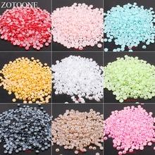 ZOTOONE 1000 pièces 6mm AB couleurs Flatback colle sur strass perles de perles multicolores ABS résine demi perles rondes pour Nail Art E