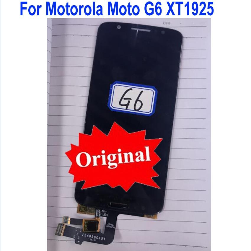 Original mejor trabajo Sensor pantalla LCD asamblea de pantalla táctil digitalizador para Motorola Moto G6 XT1925 teléfono Panel Replacement