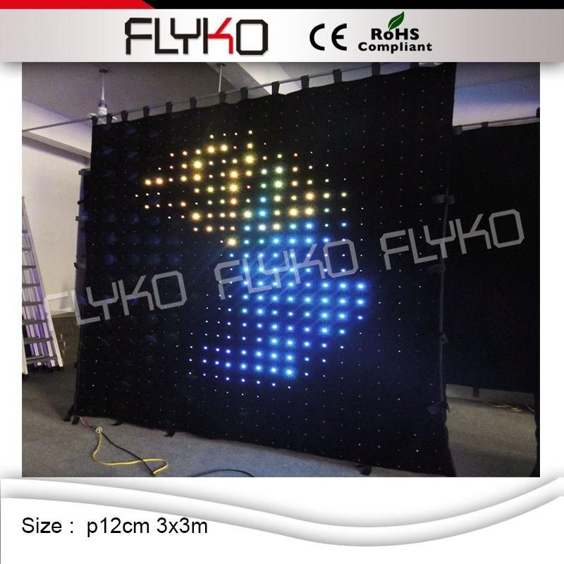 China xxx imágenes pantalla led de cortina dmx led cortina p12cm 3x3m led cortina solar luces
