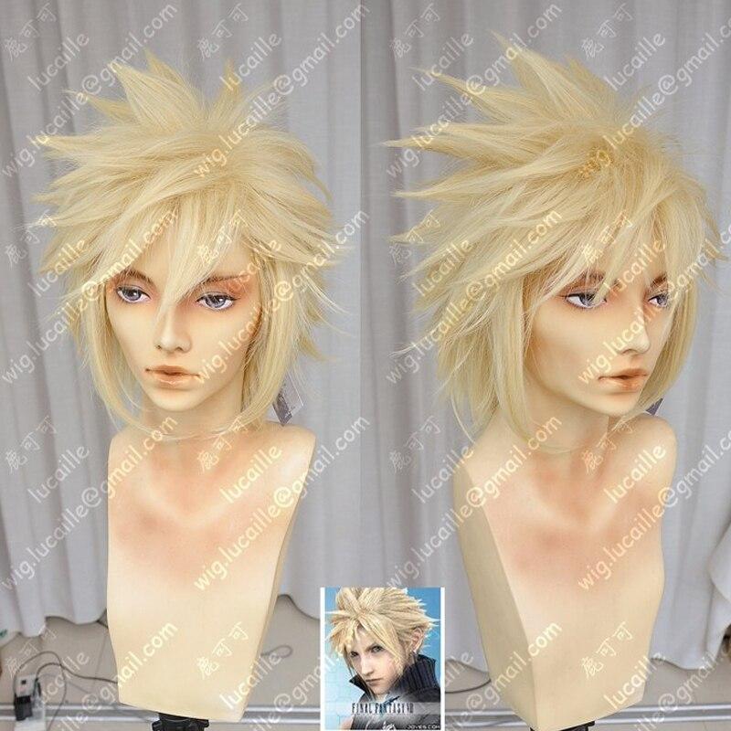Final Fantasy VII 7 ענן עימות קצר זהב בלונד קוספליי שיער פאה + כובע פאה