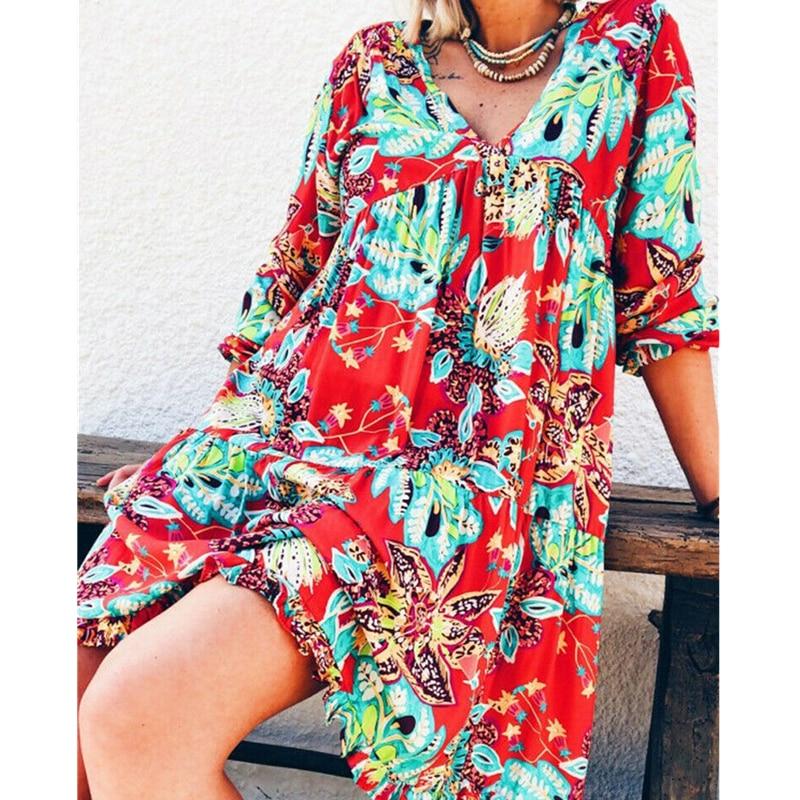 Nueva moda mujer manga larga verano otoño Boho Floral impreso playa caftán holgado informal túnica playa Mini vestido de verano
